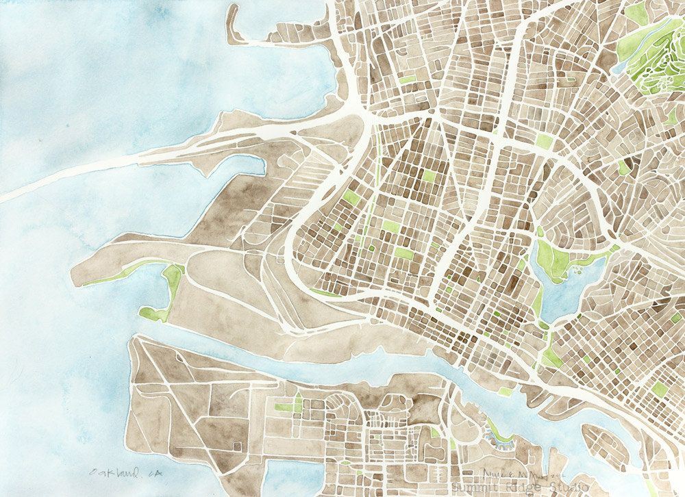 Oakland ca 12x16 watercolor map large giclee map decor print 5000 oakland ca watercolor map large giclee map decor print publicscrutiny Image collections