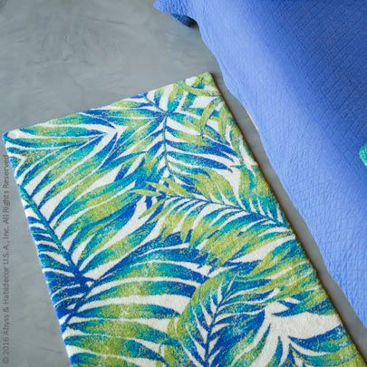 Blue And Green Palm Fronds Make Majorelle Bath Rug By Abyss