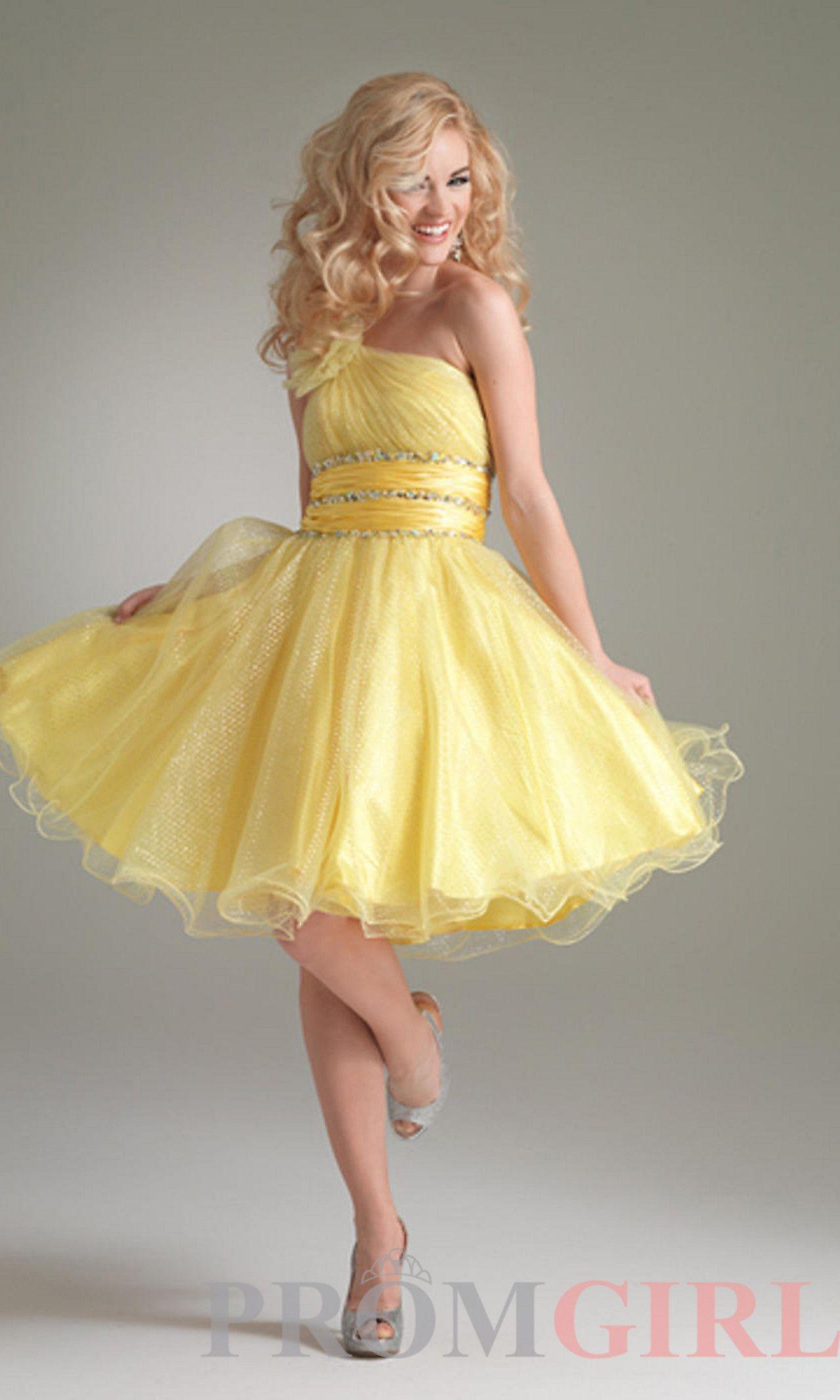 Yellow one shoulder dress apparelswedding pinterest shoulder