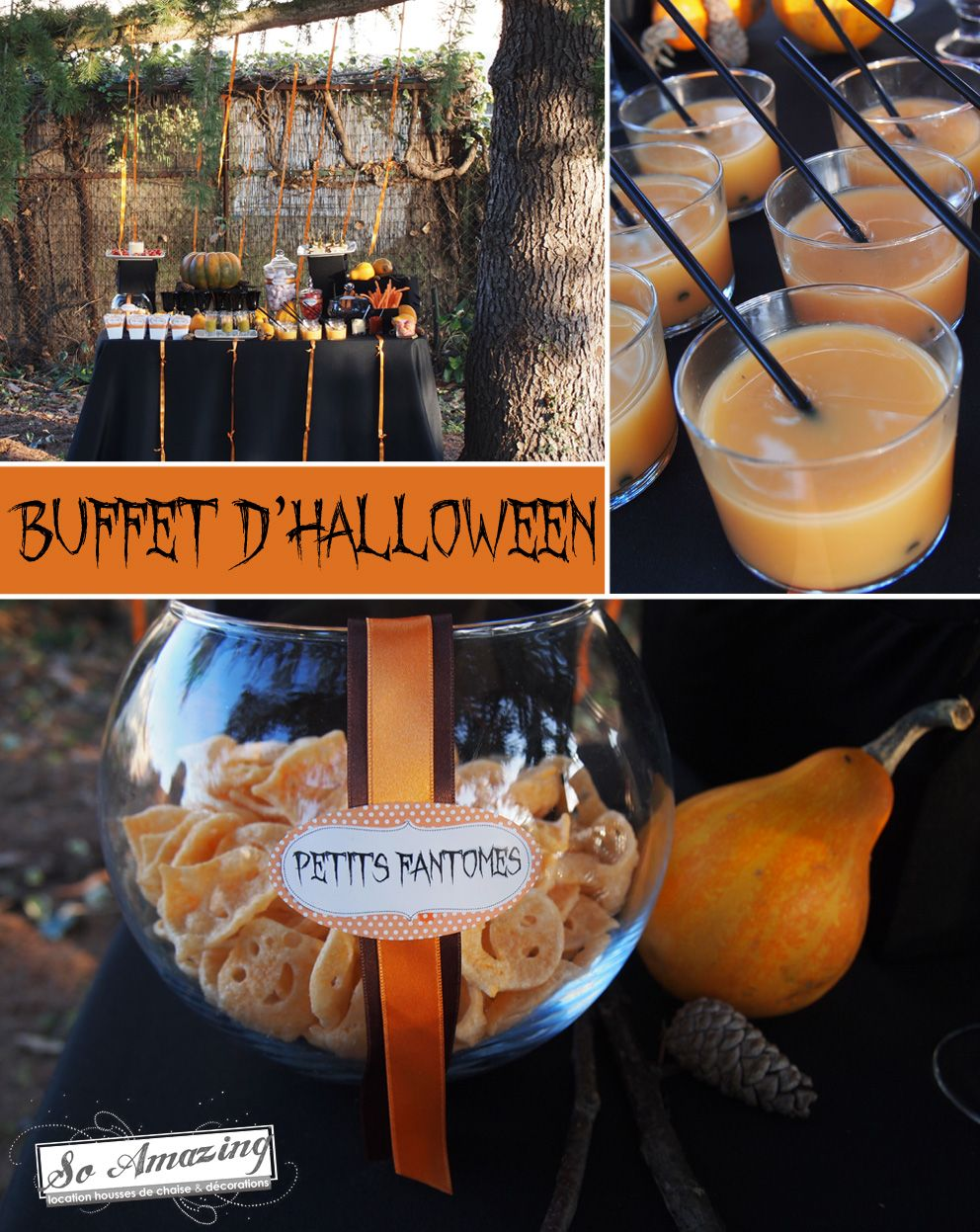 Buffet d 39 halloween bar bonbons orange noir chocolat for Idee decoration porte halloween