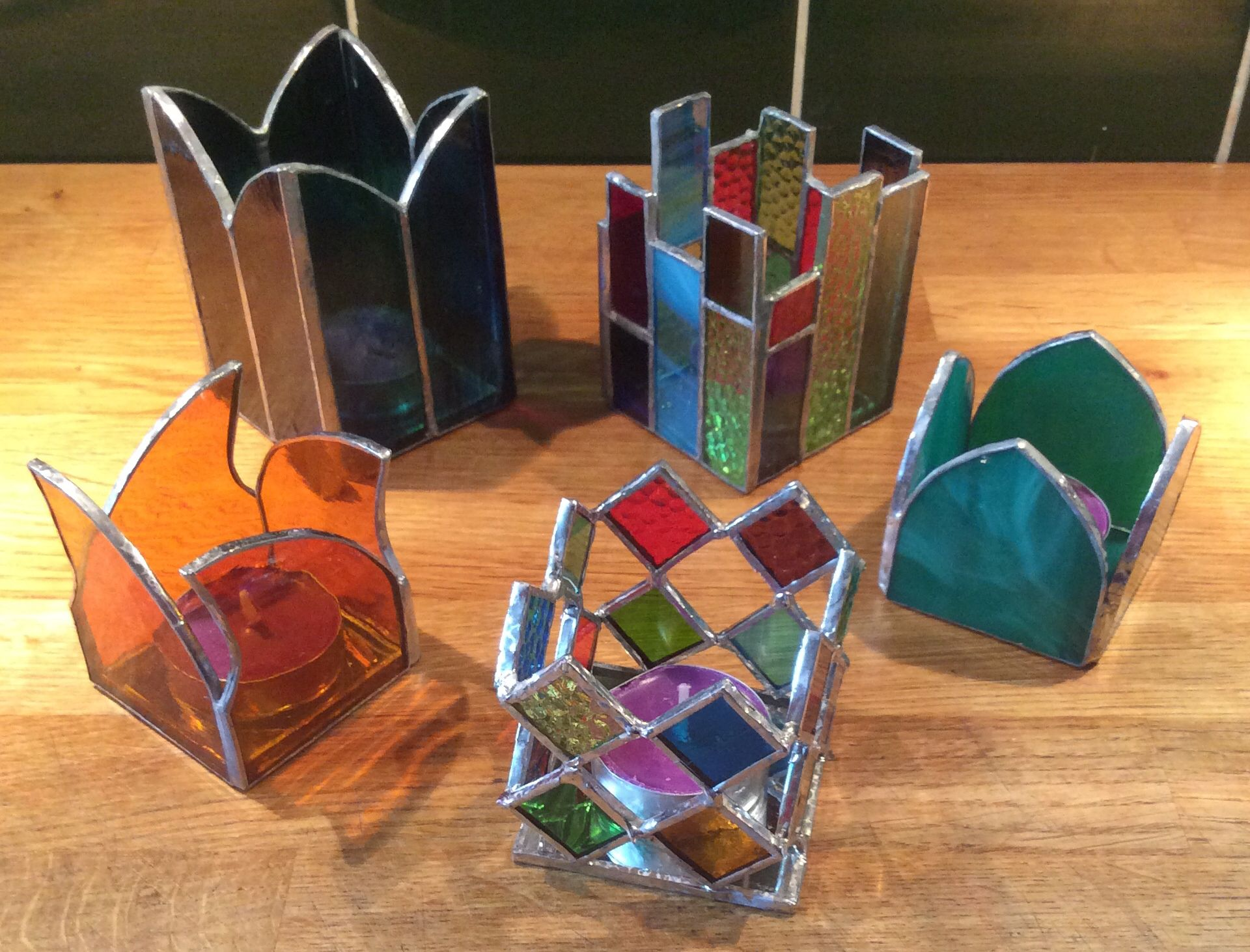 Copper foil stained glass tealight holders   Stained Glass ...