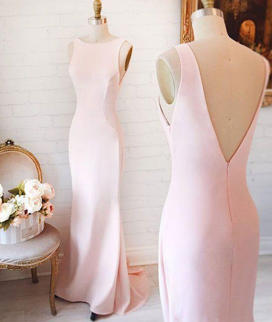 Simple pink mermaid long prom dress, pink formal dress for teens ...