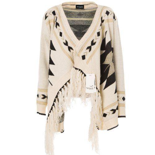 Soeach Womens Aztec Tribal Geometric Patterns Tassels Cardigan Knit Sweater