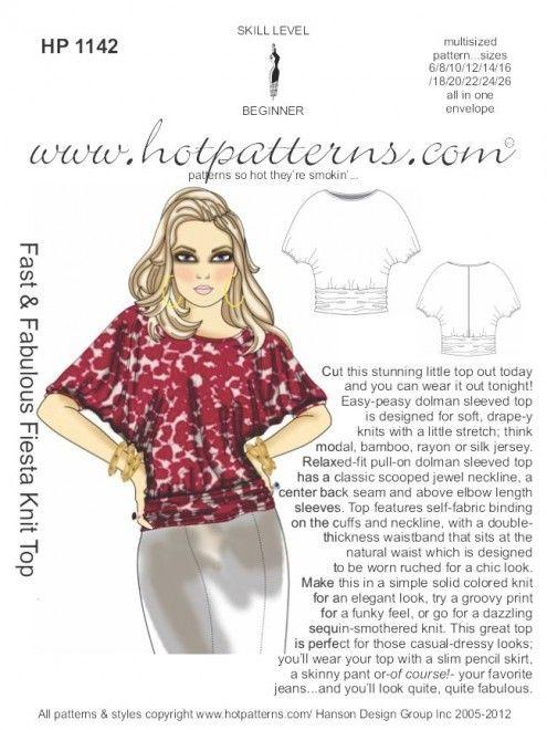 Hot Patterns 1142 - Fast & Fabulous Fiesta Knit Top | Sewing ...