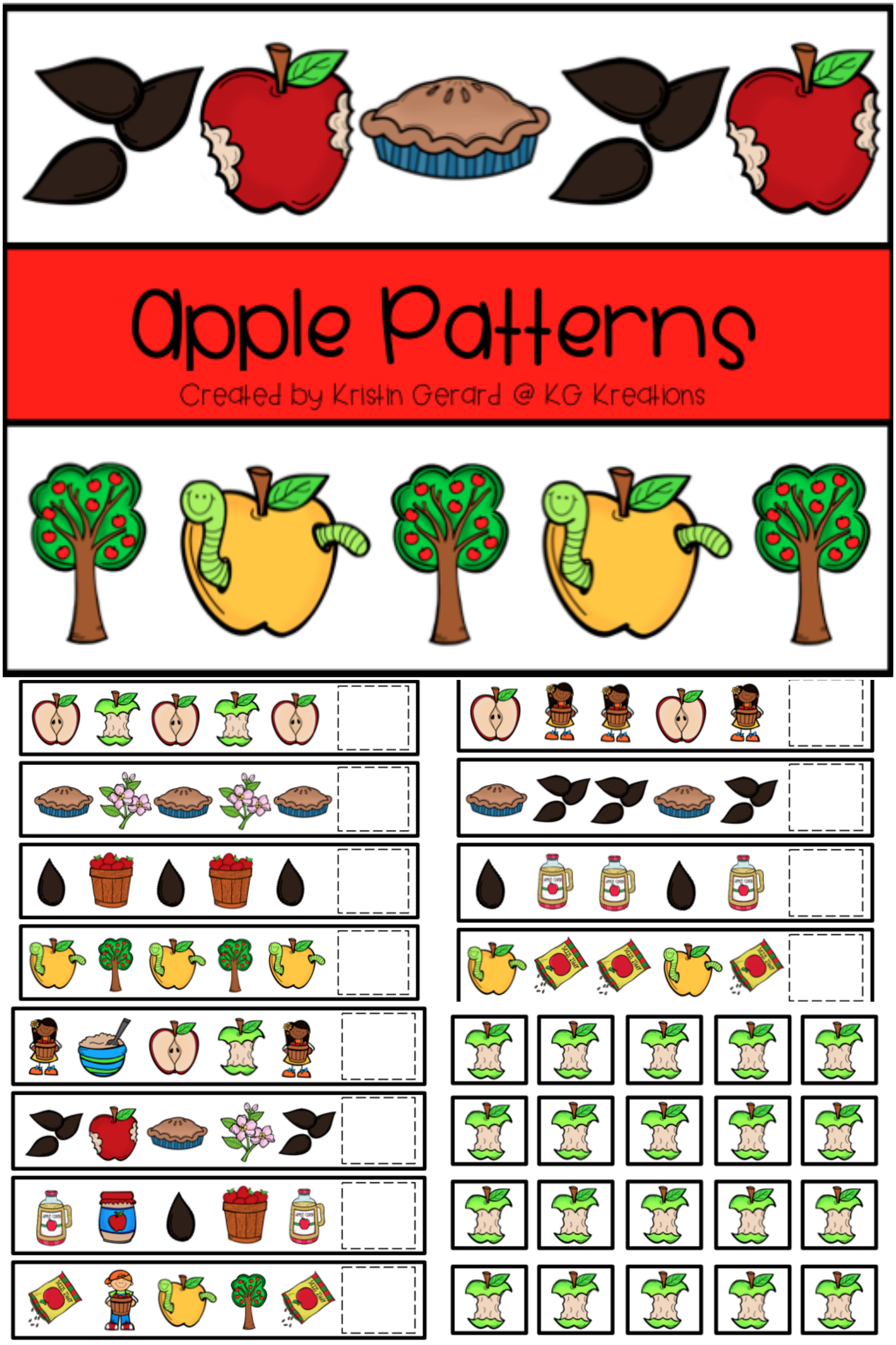 Pattern Cards Apples