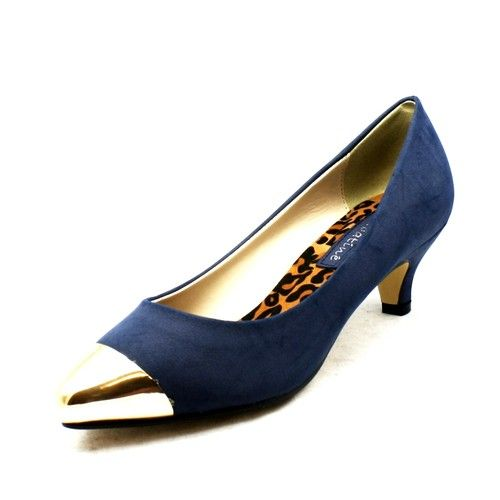 Ladies Navy Blue kitten heel pointed toe court shoes with gold toe ...