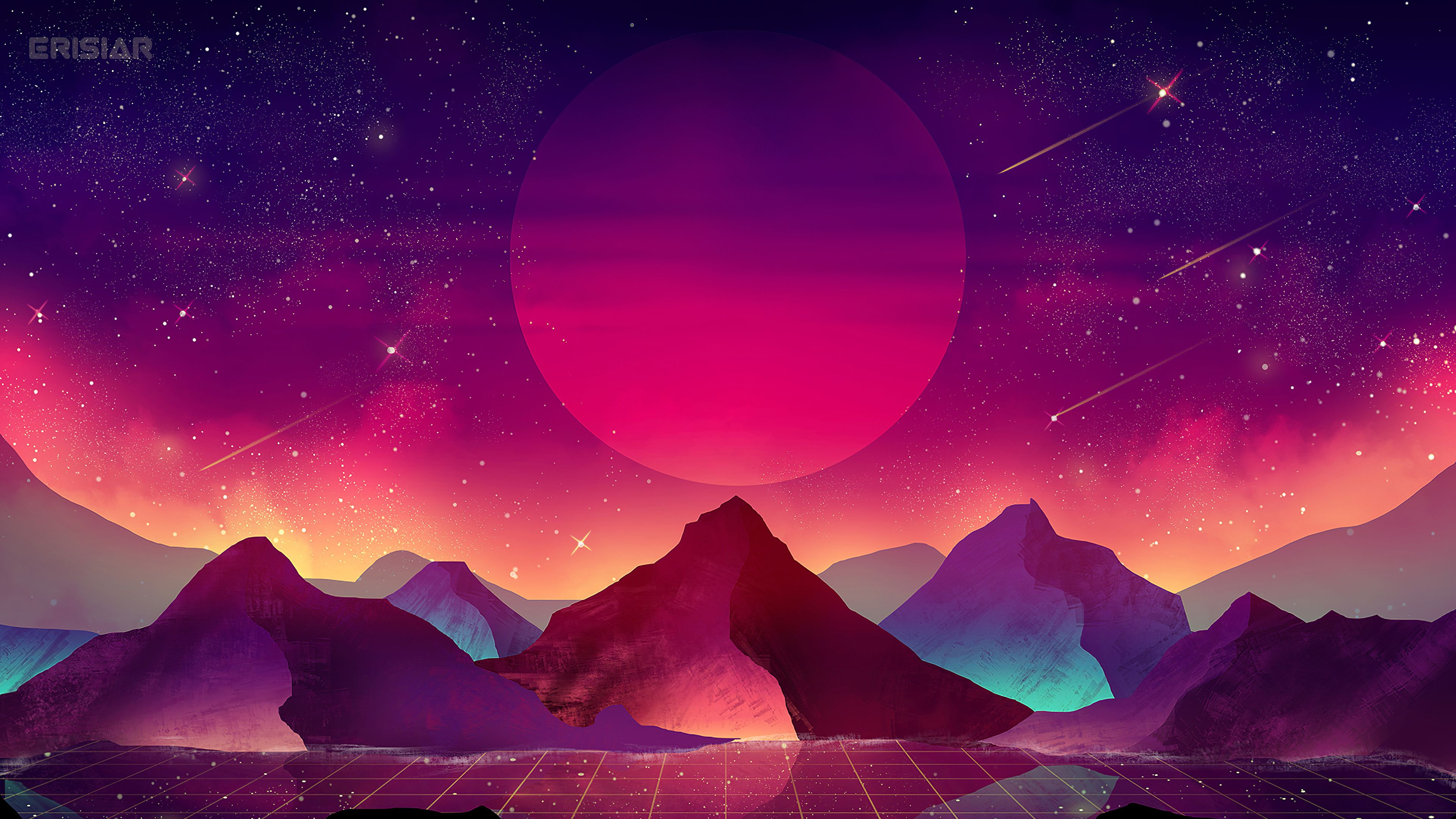 Download 3840x2160 Wallpaper Terrain Vaporwave Moon Mountains Landscape Art 4k Uhd 16 9 Widescreen 384 Uhd Wallpaper Vaporwave Wallpaper Art Wallpaper