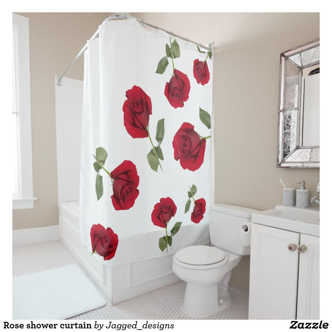 Rose Shower Curtain Zazzle Com In 2020 Rose Shower Curtain