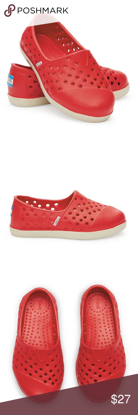 5f8fd9097be 👶🏼NWT Toms Romper Waterproof Slip-on Shoes Red Great toddler waterproof  slip-on Toms (like Natives.) Cute red and white. Great for boys or girls.  TOMS ...