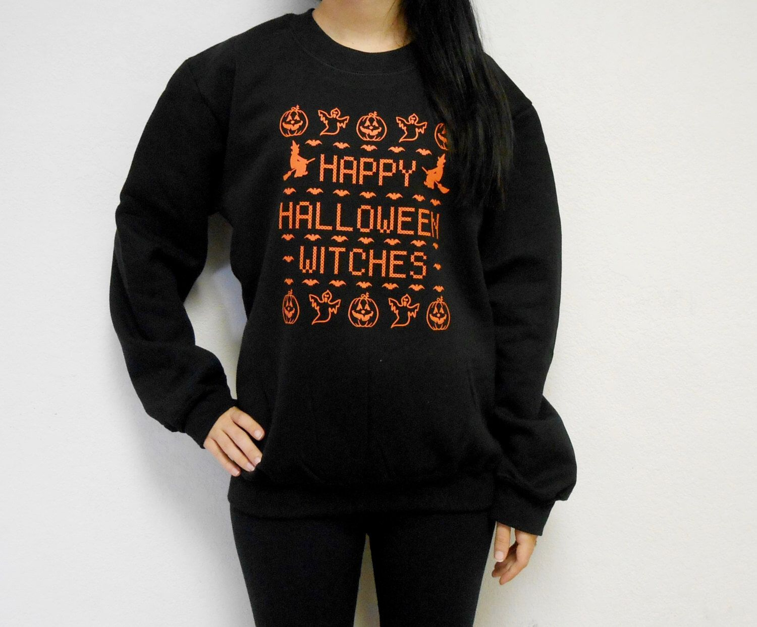 unisex happy halloween witches crew neck fleece sweatshirt ugly halloween sweater happy halloween witches by stronggirlclothing on etsy