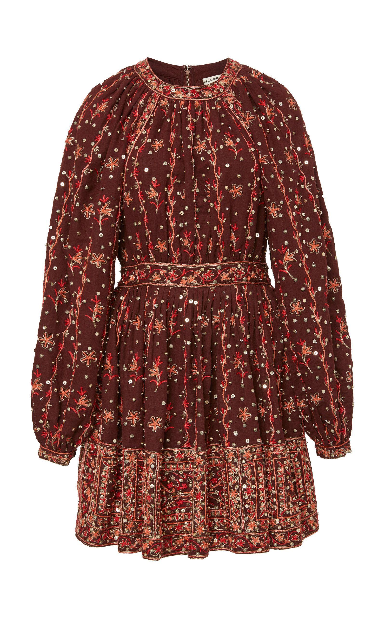 Daya embroidered linencotton blend mini dress by ulla