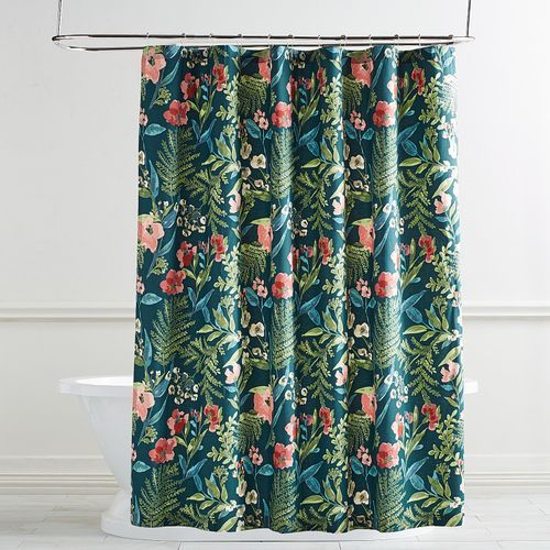 Watch How The Exotic Tropical Print Of Our Amelia Shower Curtain Transforms Your Bathroom Into