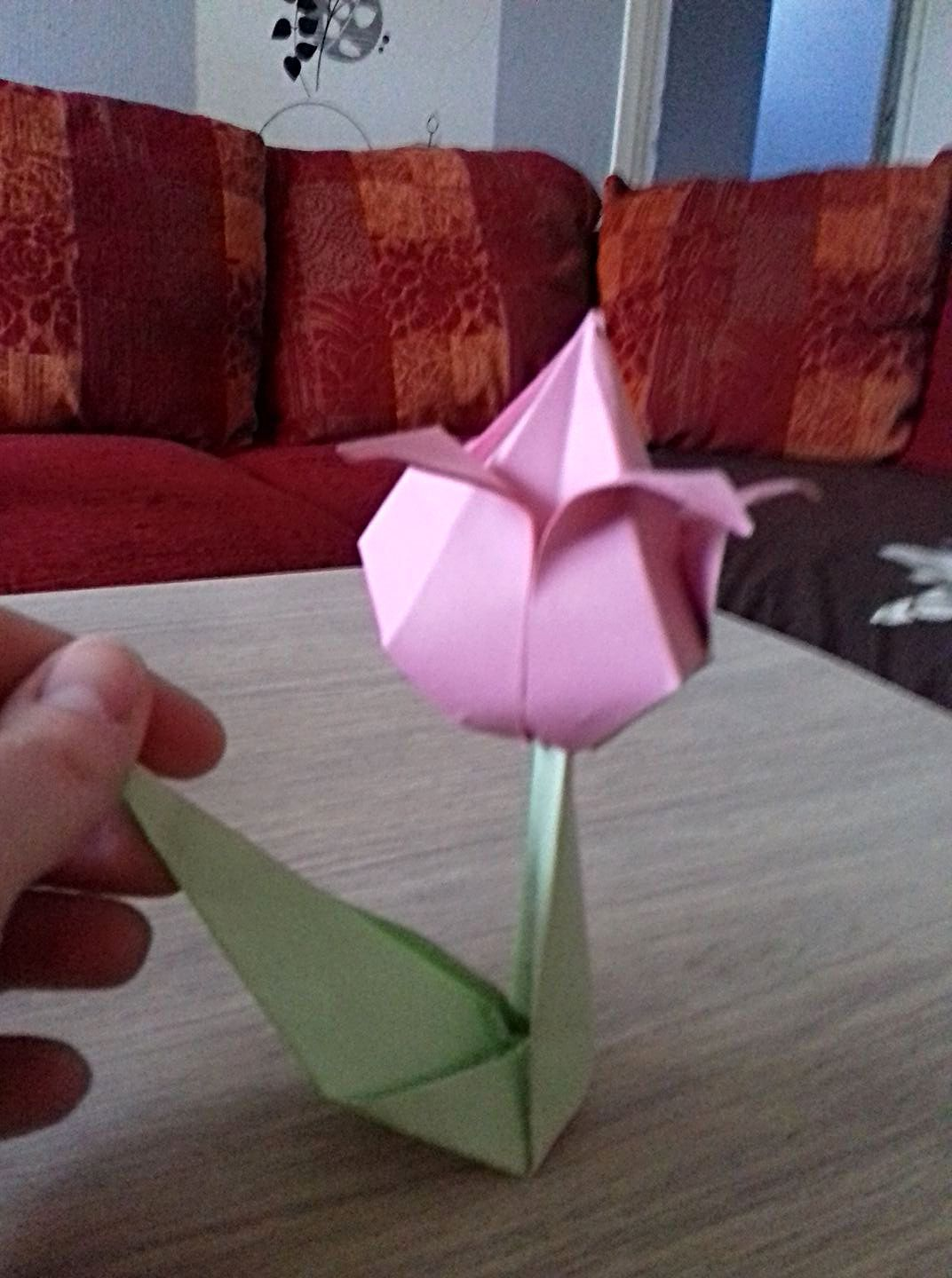 A Beautiful Origami Tulip Made With Light Pink Paper And Folded By Matthis 8 Year Old Origami Easy Origami Design Pink Paper