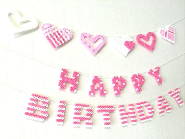 ●Lace Heart Pink*White●バースデーガーランドセット●レースハート&水玉&ボーダー●アイロンビーズ