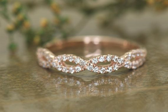 Twisted Pave Diamond Vine Wedding Band Round Brilliant Cut Diamonds