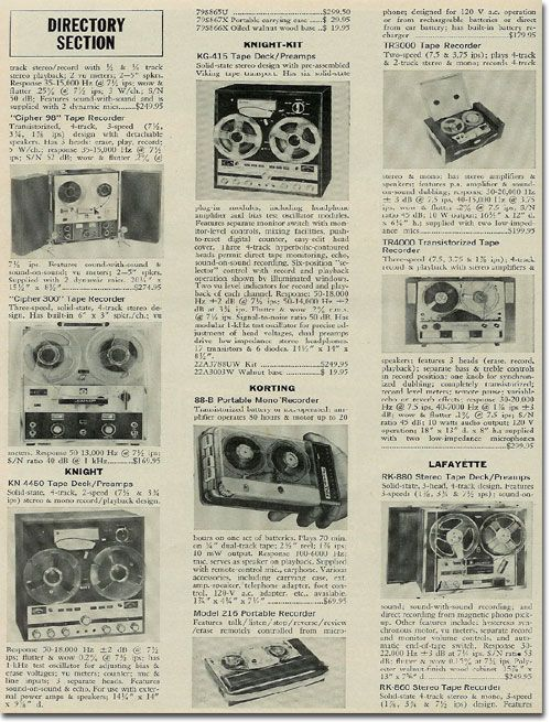 1967 Reel To Reel Tape Recorder Directory In Reel2reeltexas Com S