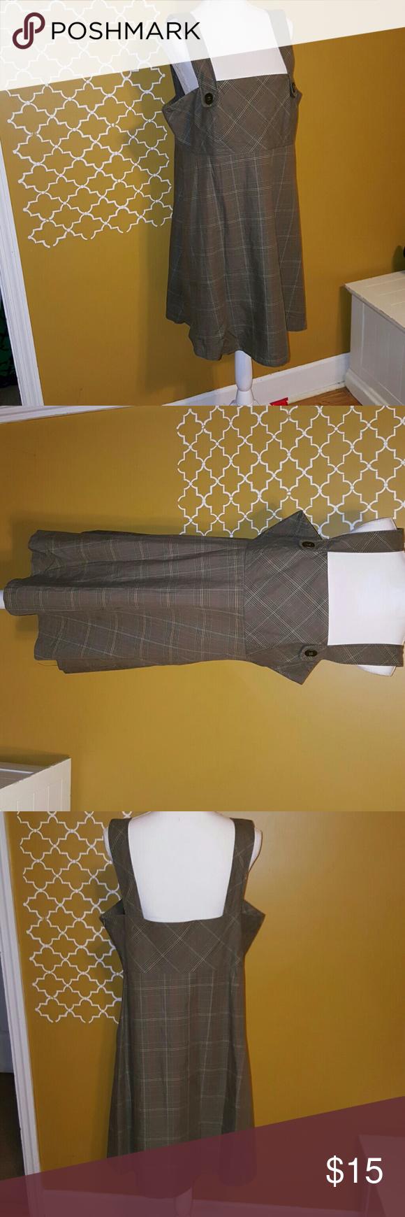 B. Moss brown plaid Dress This cute jumper dress zips up on side. b. moss Dresses Midi
