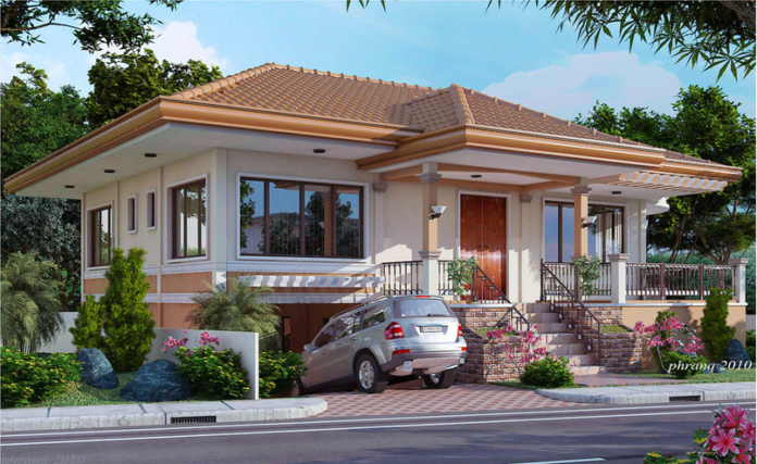 This One Storey House Design Concept Is An Elevated Bungalow With Metal Roof Tile Effect With Span Basement House Plans One Storey House Two Story House Design