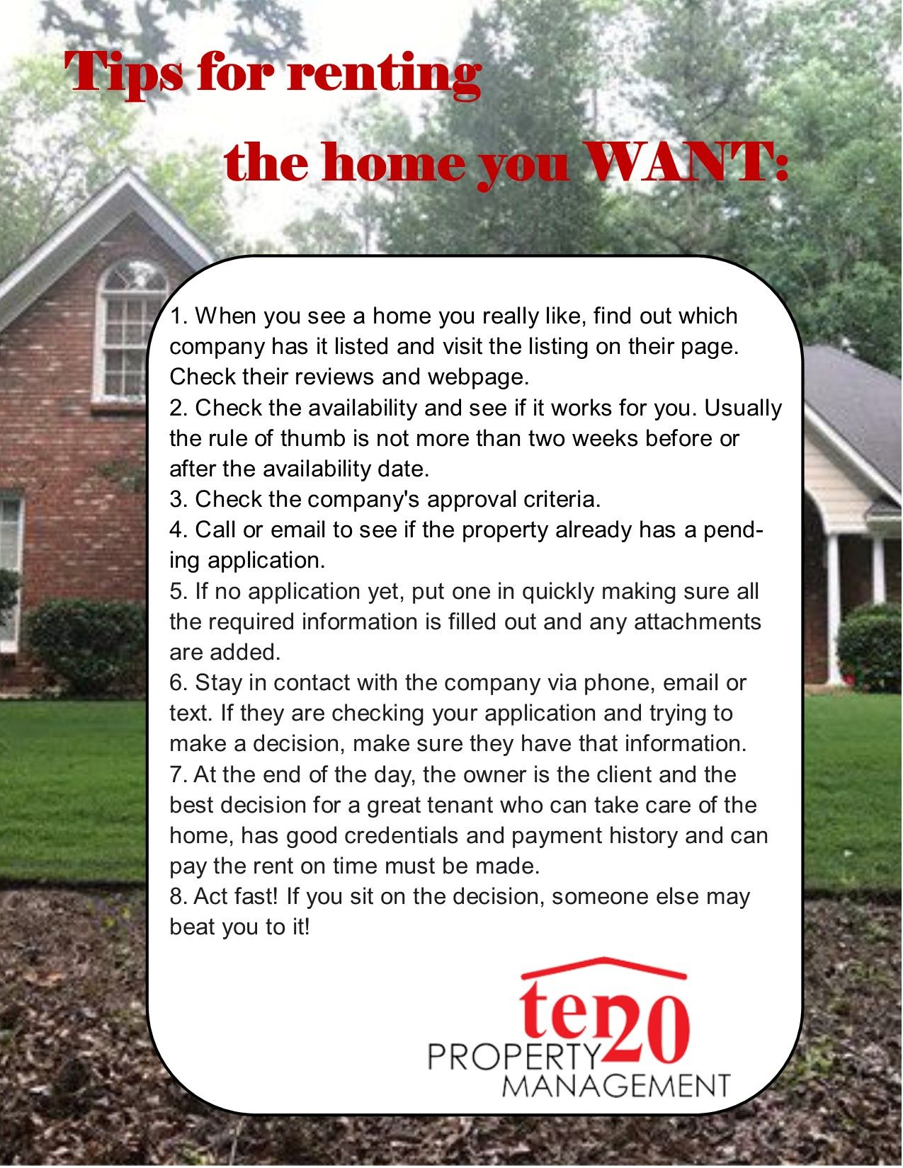 Tips for renting the home you want property management