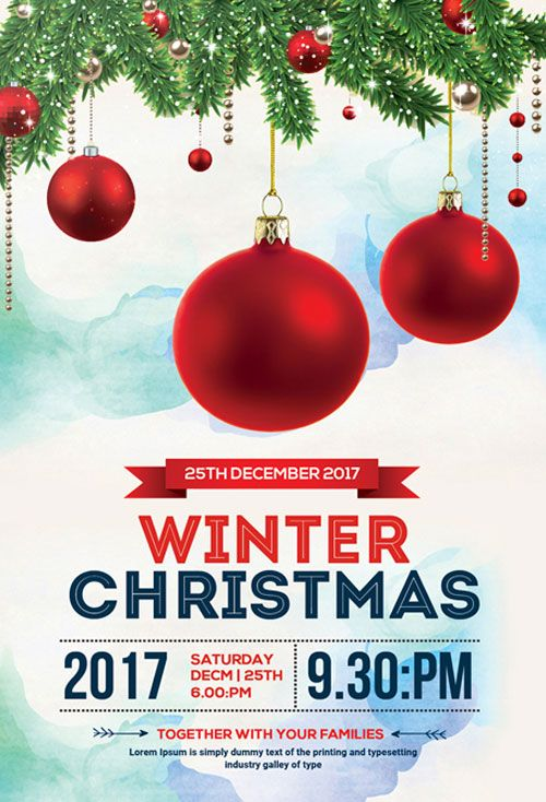 Christmas Winter Free Psd Flyer Template  HttpFreepsdflyerCom
