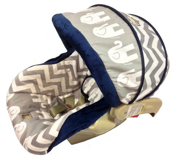 Elephant And Chevron Grey Infant Car Seat Cover For Graco Snugride Or Chicco Keyfit 30 Choose Your Color