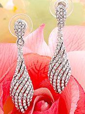 Wedding Earrings with Elegant Crystal Swirls