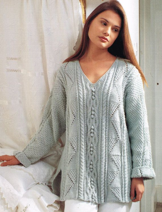 Ladies aran tunic style jumper vintage knitting by EnglishAran ...