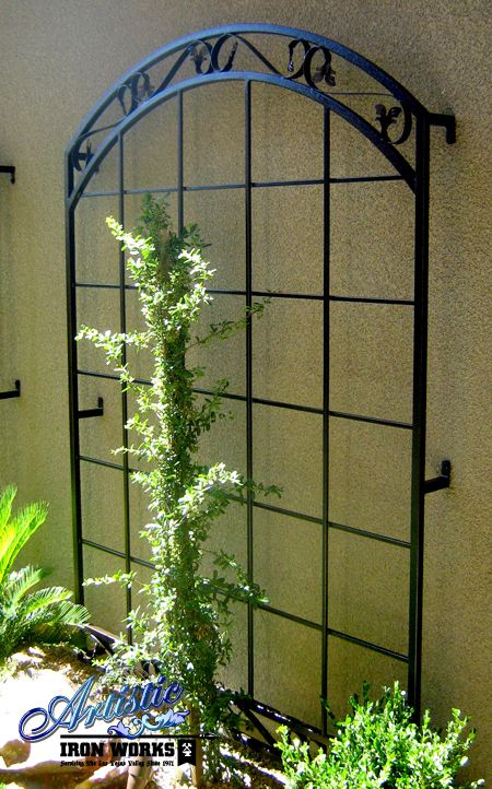 Custom wrought iron trellis wrought iron trellises for Wall trellis ideas