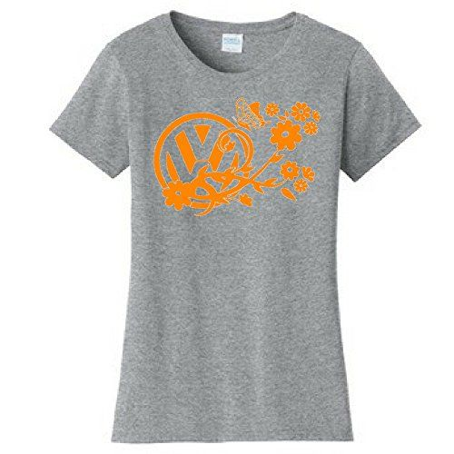 Vdubster Graphic Tees - VW Flowers & Butterfly Shirt Available Online  #VW #Volkswagen #Womens #Tshirt #Gray #Butterfly #Flowers #Shirts #Beetle