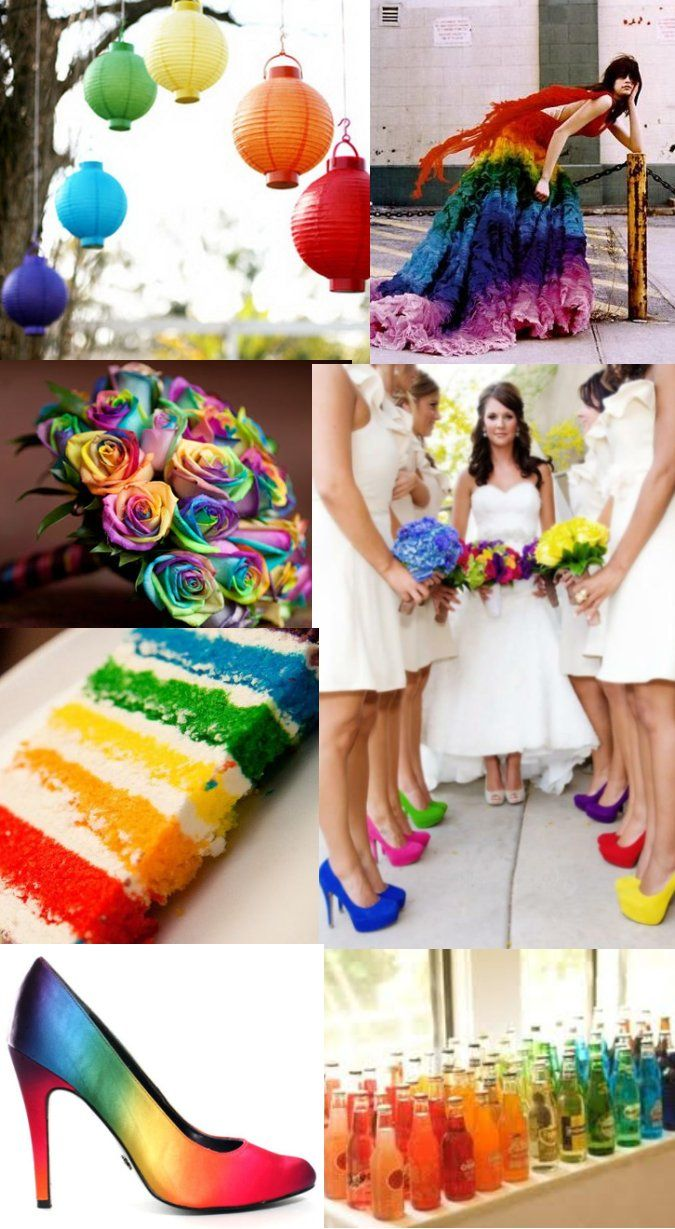 Beautiful Rainbow Wedding Design Inspiration Board Full Of Bright Cheerful Colors In All Sorts Combinations