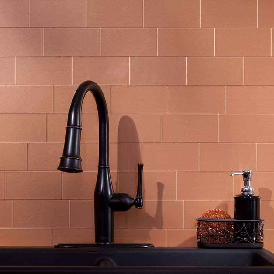 Picture of aspect backsplash 3x6 brushed copper long grain metal picture of aspect backsplash 3x6 brushed copper long grain metal tile dailygadgetfo Images