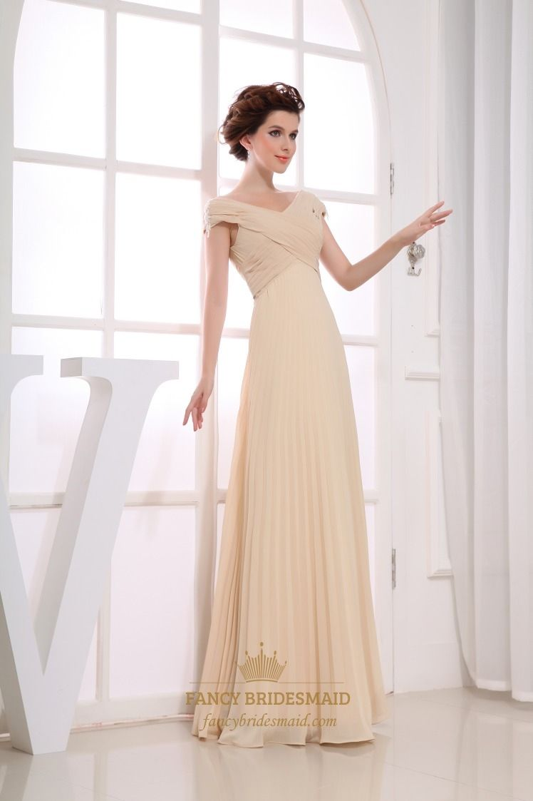Elegant champagne chiffon cap sleeve pleated long prom evening