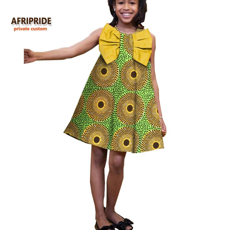 8c66d2362 2017 summer dress for children AFRIPRIDE private custom casual sleeveless  knee-length A-line girls dress big bow cotton A724505