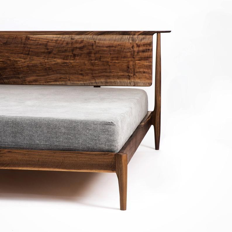 Platform Bed Scandinavian Design Walnut Platform Bed Mid Century