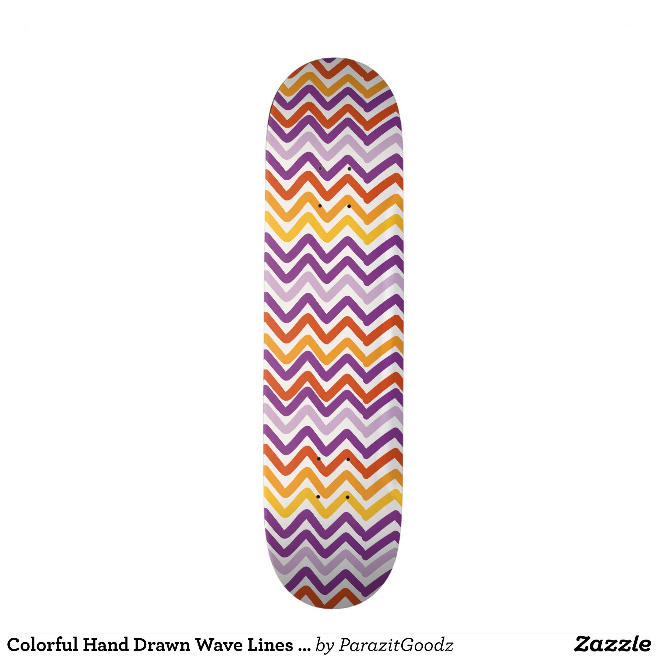 Colorful Hand Drawn Wave Lines Pattern Skateboard Supreme Hard