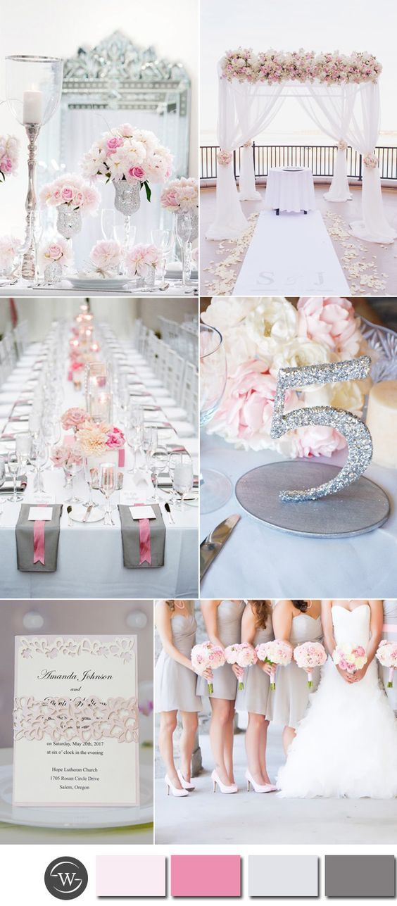 Six Beautiful Pink And Grey Wedding Color Combos With Invitations