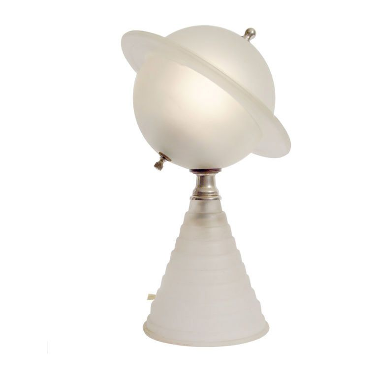 1939 Worlds Fair Frosted Glass Saturn Lamp 1stdibs Com Art Deco Lighting Lamp Frosted Glass