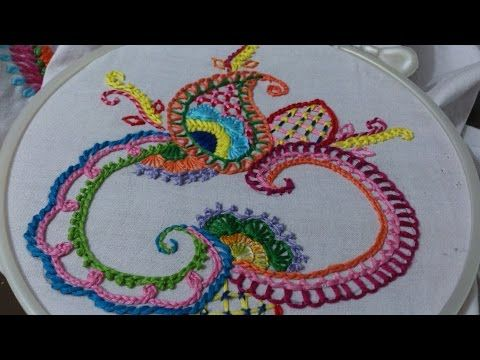 Hand embroidery designs. Basic stitches design for beginners. embroidery stitches tutorial. - YouTube