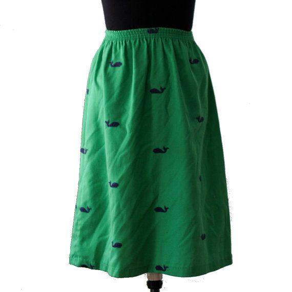 Vintage Whale Midi Skirt - Green Whale Skirt, Black Friday Etsy