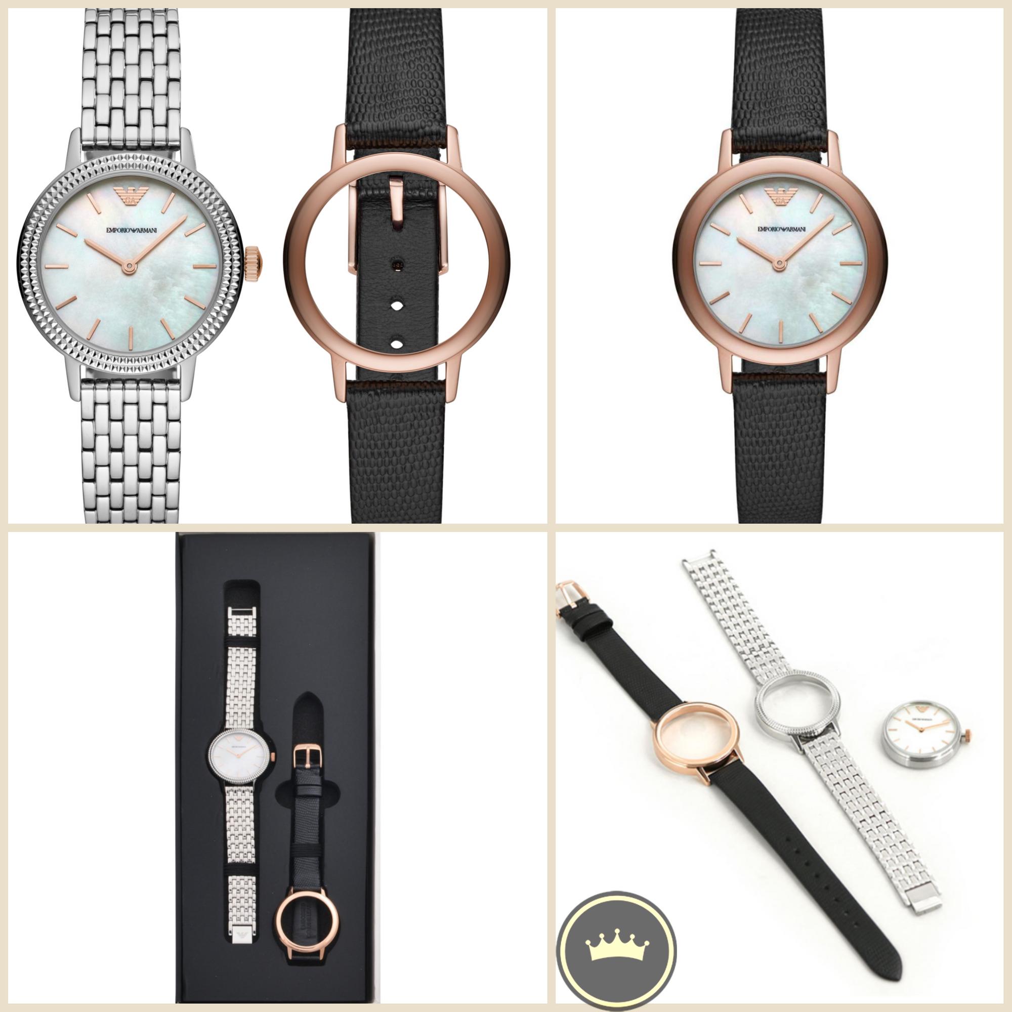 وصل حديثا من أرماني الساعه النساثية المتميزة يمكن تغيير السوار الى جلد فقط 629 درهم New Collection Emporio Armani Womens An Leather Watch Leather Accessories