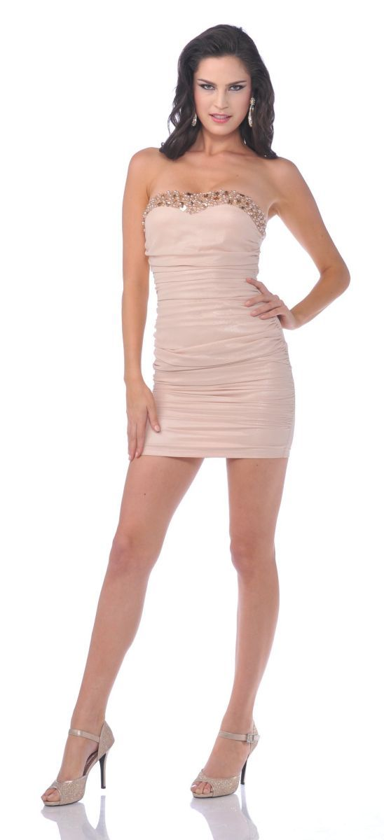CLEARANCE - Champagne Cocktail Party Dress Short Above Knee Form Fit ...