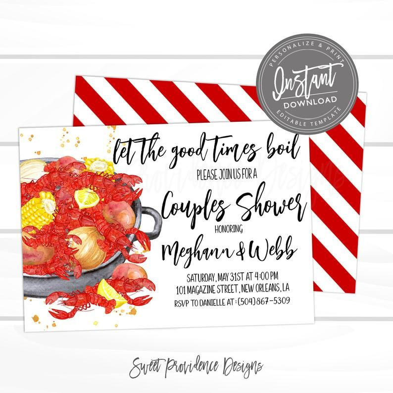 Crawfish Boil Couples Shower invitation, Crawfish Shower