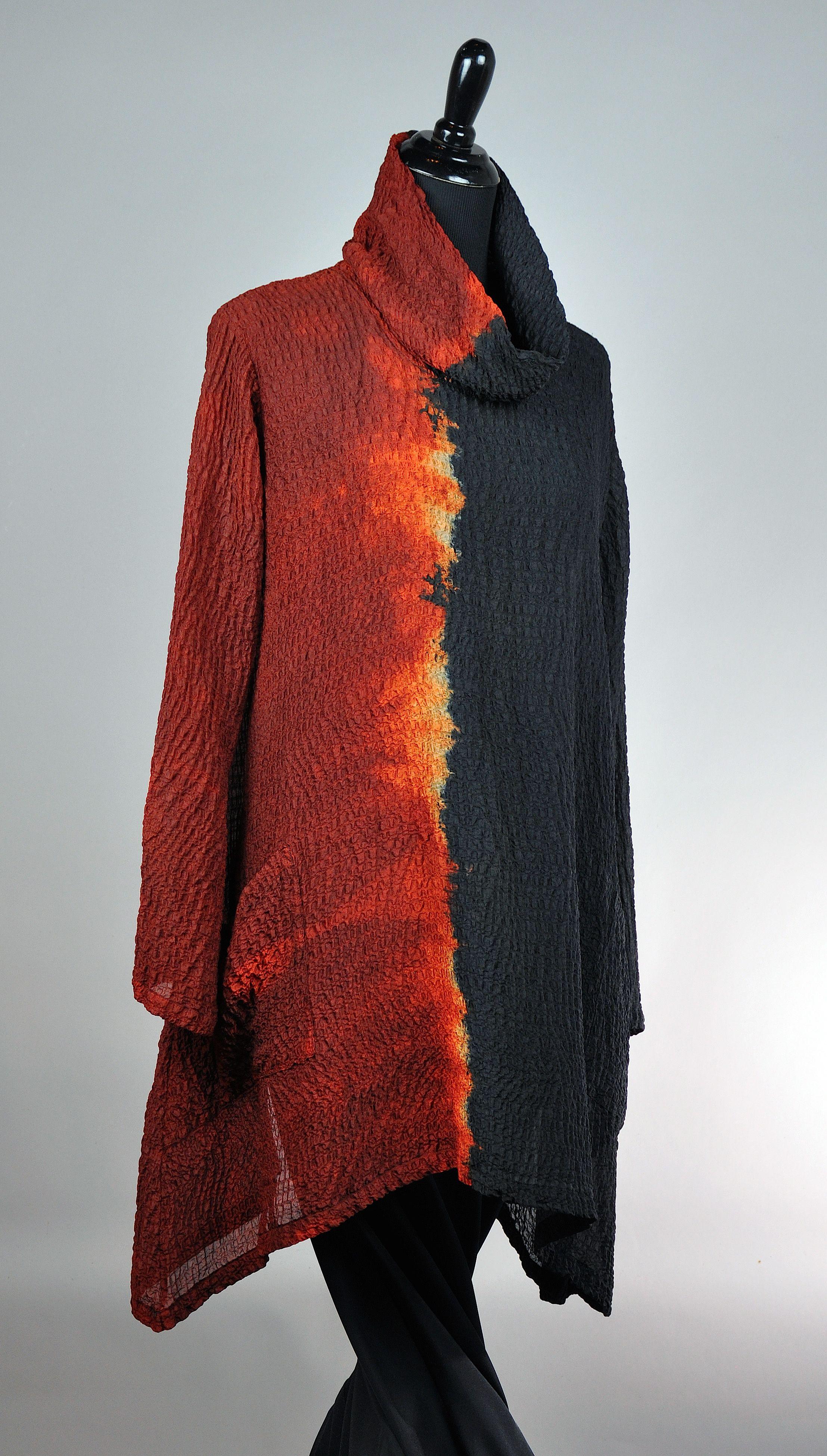 Medium Cowl neck Pocket Pullover Red Black, silk bubble Gauze SOLD Carolina Artisans Market ... will be available on Artful Home Soon