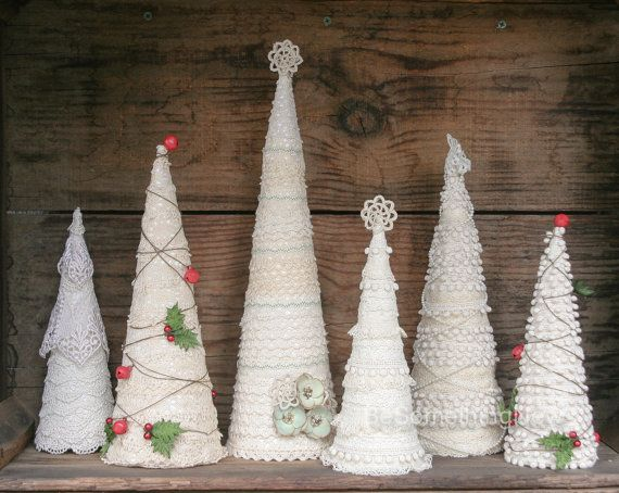 Ivory Lace Christmas Tree Table Top Christmas by BeSomethingNew