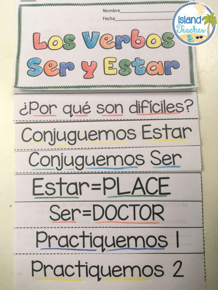 Spanish Interactive Notebook Flip Book Ser vs. Estar | SPANISH ...
