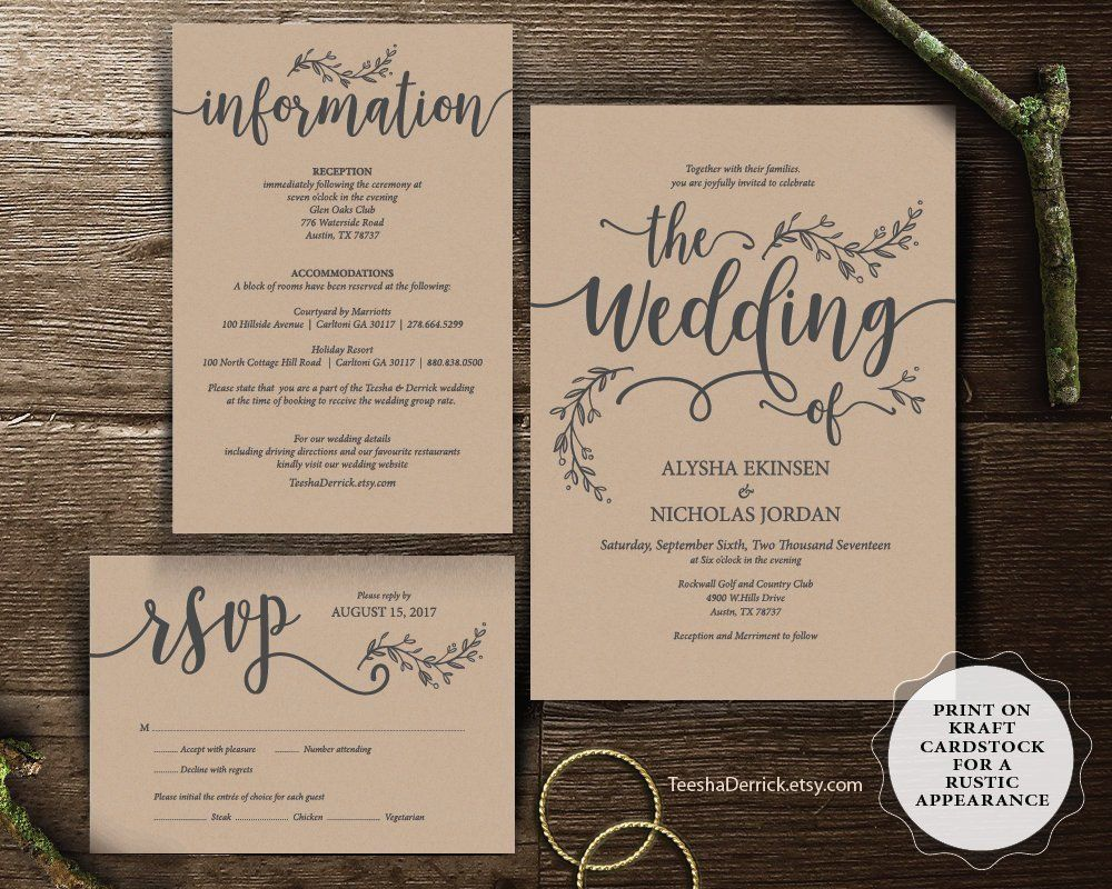 Wedding Invitation Cards Suite Instant Download Pdf