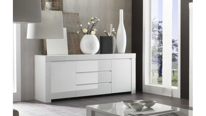 laqué blanc 2 portes + 3 tiroirs - Naomi