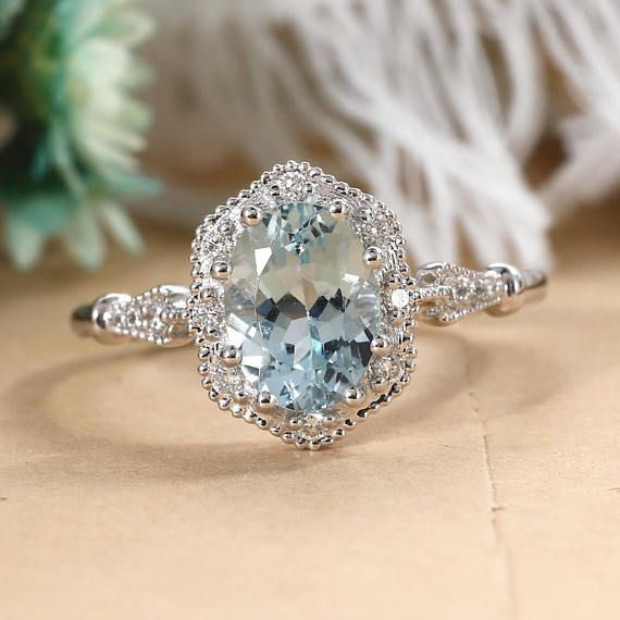 Aquamarine engagement ring women Art deco Vintage engagement ring diamond Unique,  #Aquamarin... #aquamarineengagementring