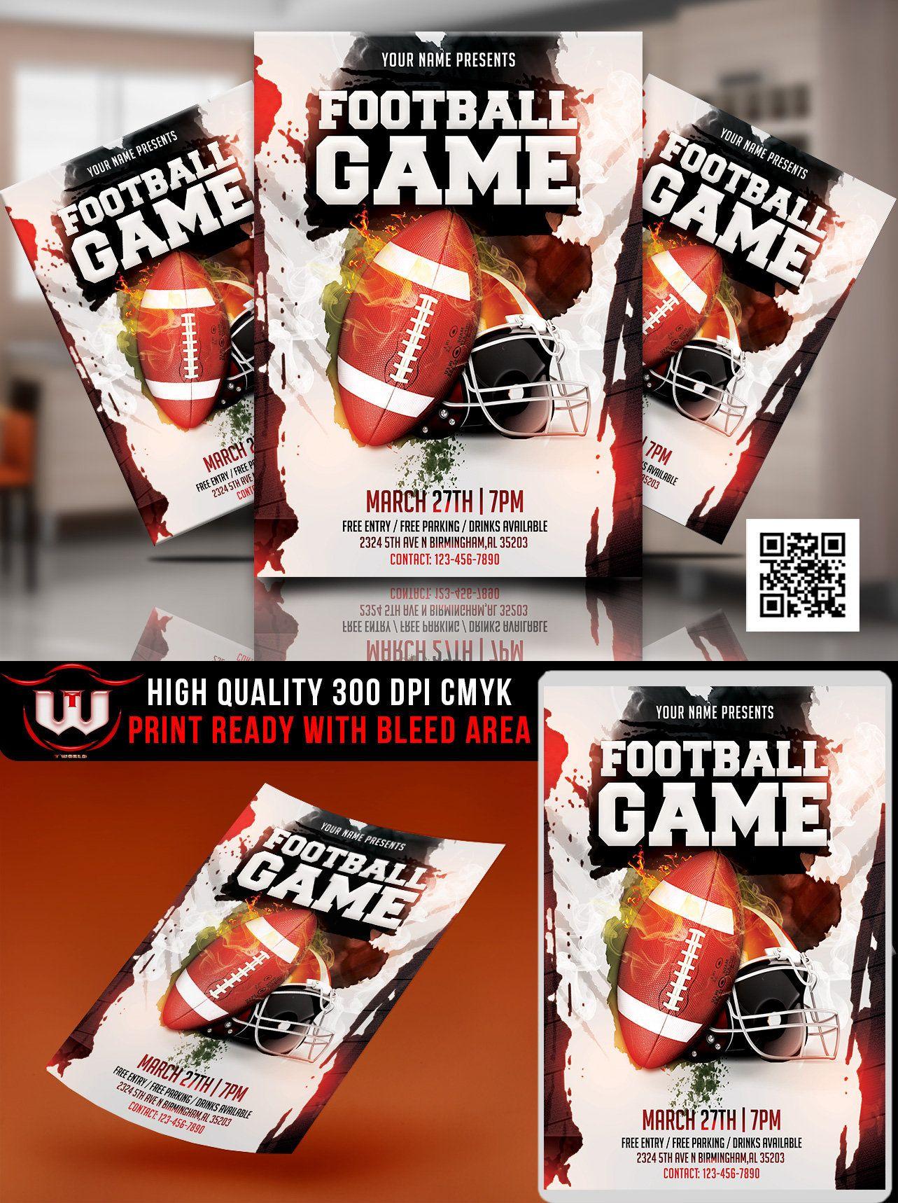 Football game flyer college football invitation super ball