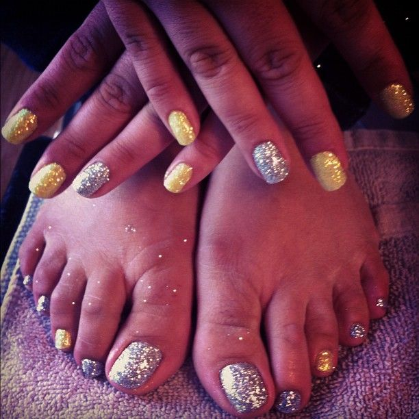Come in and get our signature #glittertoes and #glitternails